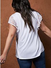 White Super Soft Flutter Sleeve Top, BRIGHT WHITE, alternate