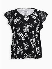 Black Floral Super Soft Flutter Sleeve Top, OTHER PRINTS, hi-res