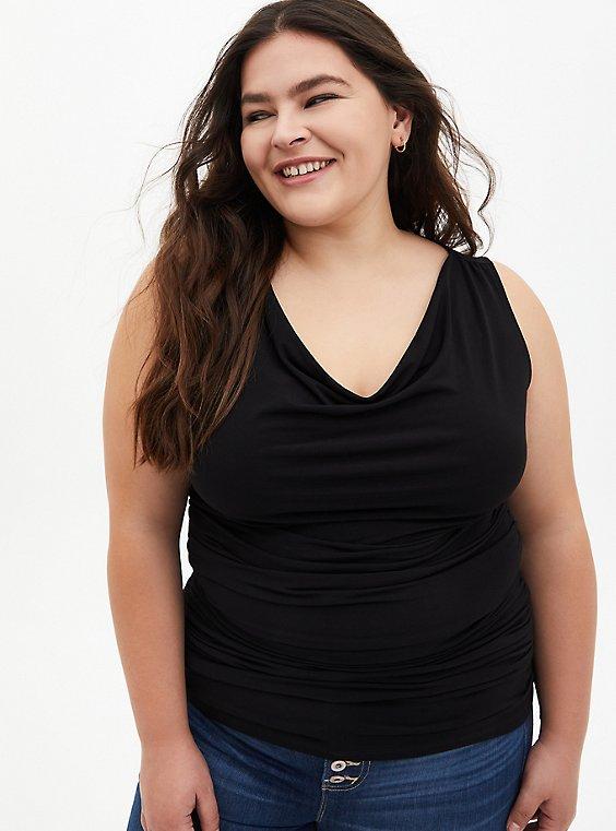 Plus Size Black Studio Knit Cowl Neck Top, DEEP BLACK, hi-res