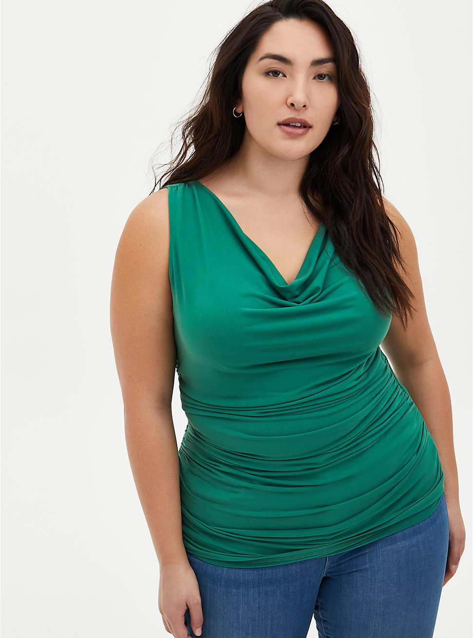 Plus Size Green Studio Knit Cowl Neck Top, GREEN, hi-res