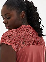Plus Size Dusty Rose Studio Knit & Lace Top, MARSALA, alternate