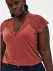 Plus Size Dusty Rose Studio Knit & Lace Top, MARSALA, hi-res