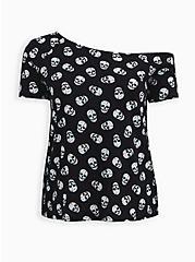 Black Skulls Heritage Slub Off Shoulder Tee, OTHER PRINTS, hi-res