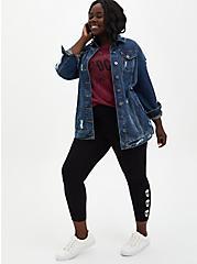 Crop Premium Legging Tie-Dye Skull Side - Black, BLACK, alternate