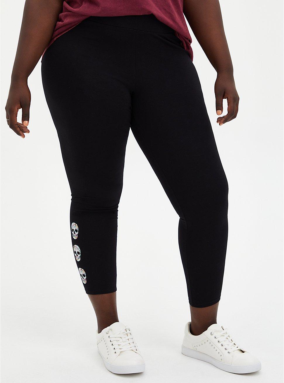 Crop Premium Legging Tie-Dye Skull Side - Black, BLACK, hi-res