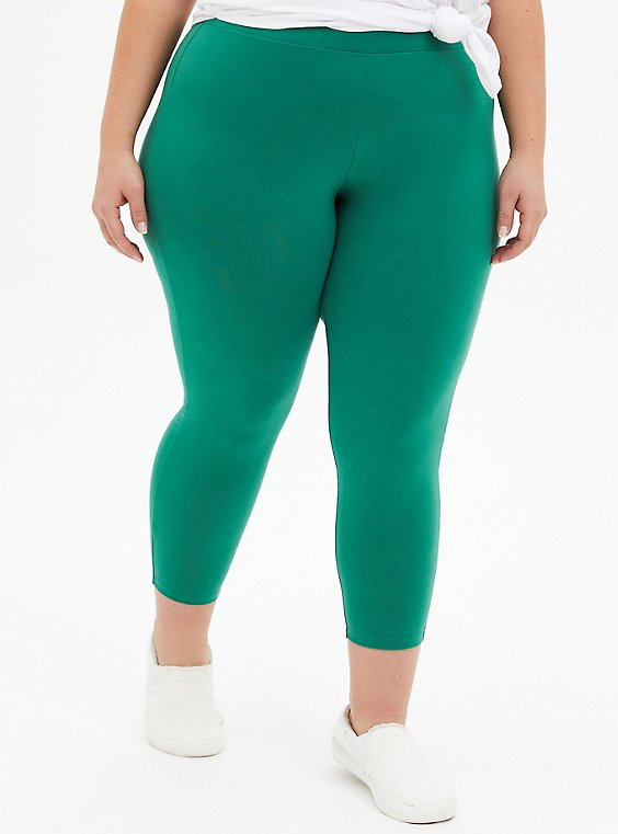 Crop Premium Legging - Green, GREEN, hi-res