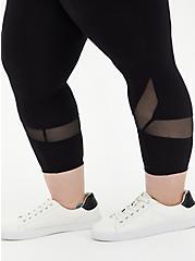 Crop Premium Legging - Swirl Mesh Inset Black, BLACK, alternate