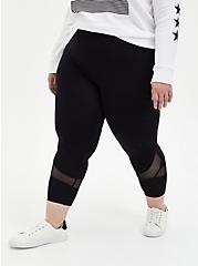 Crop Premium Legging - Swirl Mesh Inset Black, BLACK, hi-res