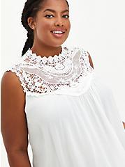 White Crinkled Gauze Crochet Tank, CLOUD DANCER, hi-res
