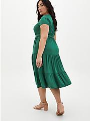 Super Soft Green Tiered Skater Midi Dress, FOLIAGE GREEN, alternate