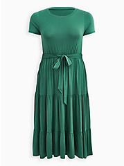 Super Soft Green Tiered Skater Midi Dress, FOLIAGE GREEN, hi-res