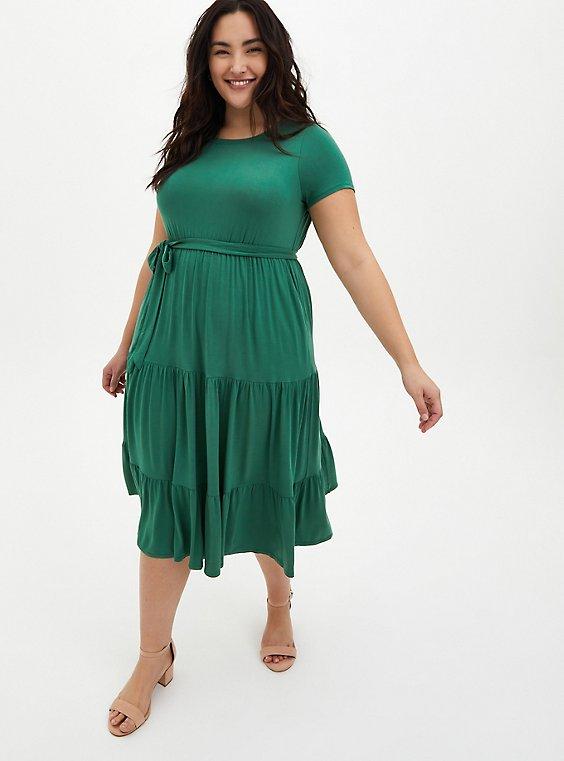 Super Soft Green Tiered Skater Midi Dress, , hi-res