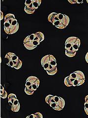 Plus Size Black Skulls Stretch Challis Button Dress, SKULL - BLACK, alternate