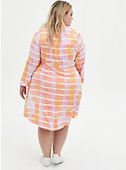 Peach Plaid Stretch Challis Shirt Dress, PLAID - PINK, alternate