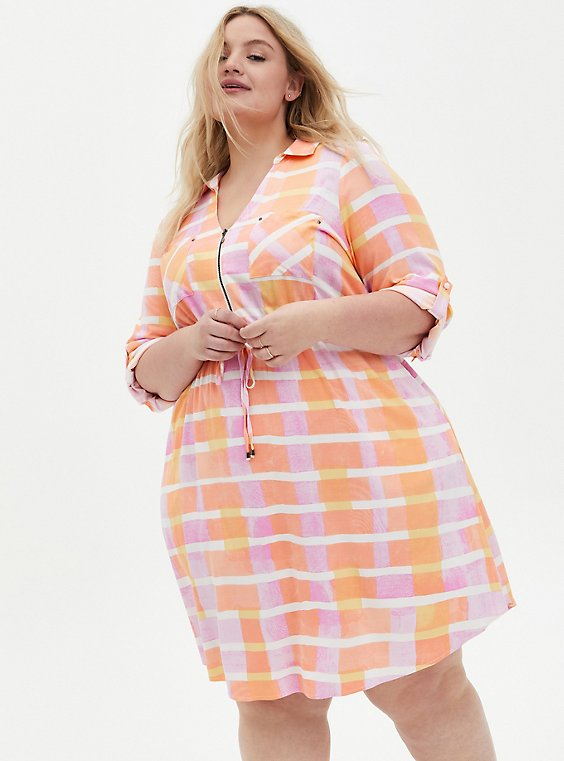 Peach Plaid Stretch Challis Shirt Dress, PLAID - PINK, hi-res
