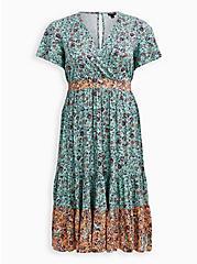Jade Green Floral Stretch Challis Surplice Skater Midi Dress, FLORAL - GREEN, hi-res
