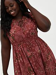 Marsala Floral Challis Skater Maxi Dress, FLORAL - RED, alternate