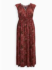 Marsala Floral Challis Skater Maxi Dress, FLORAL - RED, hi-res