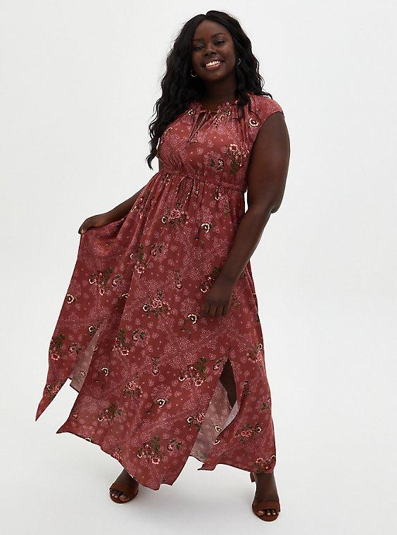 Marsala Floral Challis Skater Maxi Dress, , hi-res