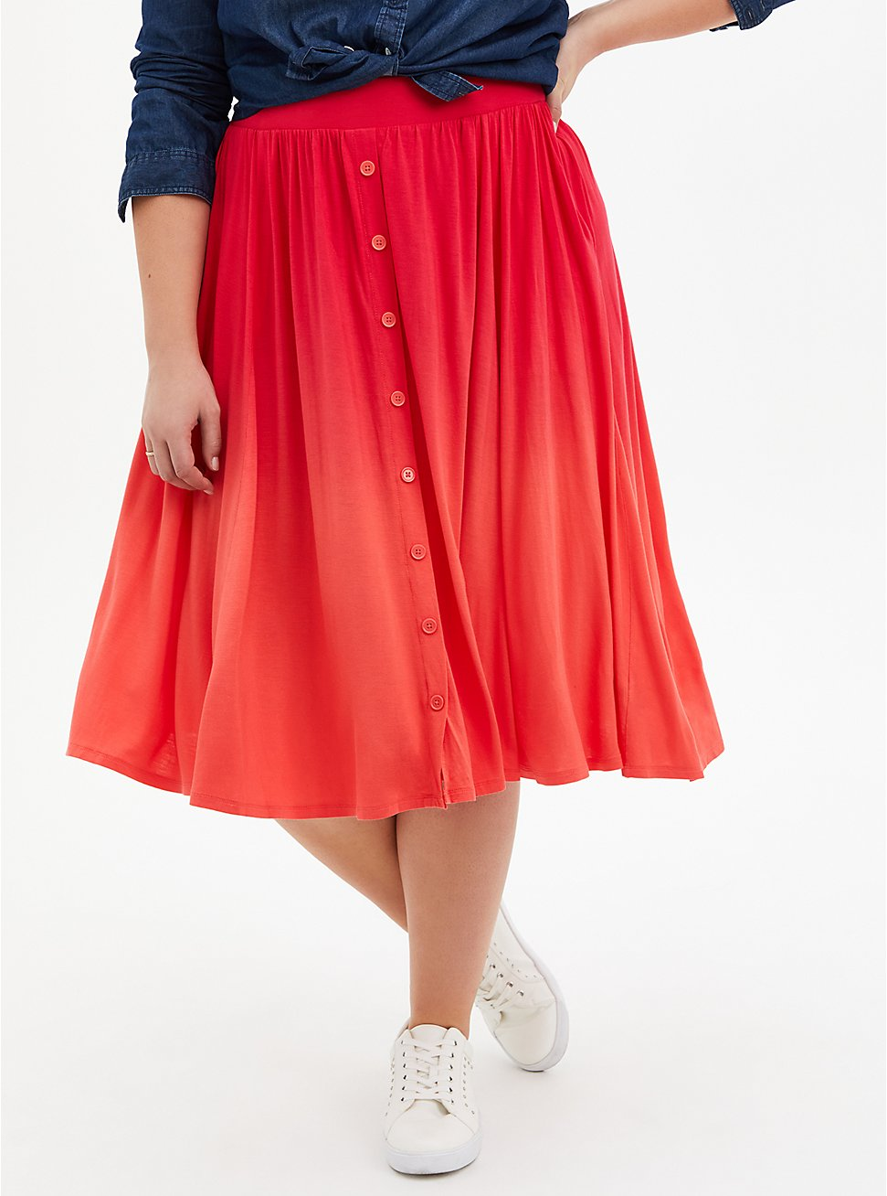 Super Soft Bright Berry Ombre Button Front Midi Skirt, TEABERRY, hi-res