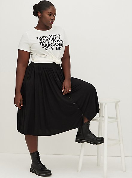 Super Soft Black Button Midi Skirt, DEEP BLACK, alternate
