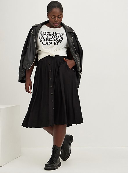 Super Soft Black Button Midi Skirt, DEEP BLACK, hi-res