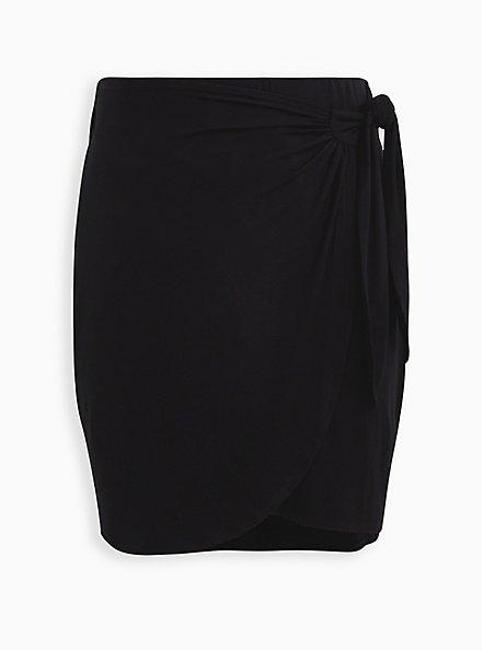 Super Soft Black Wrap Mini Skirt, DEEP BLACK, hi-res