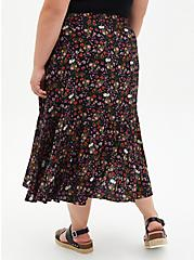 Black Floral Challis Tiered Tea Length Skirt, FLORAL - BLACK, alternate
