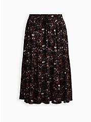 Black Floral Challis Tiered Tea Length Skirt, FLORAL - BLACK, hi-res