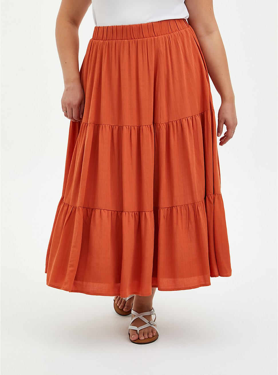 Burnt Orange Cross Hatch Tiered Maxi Skirt, SPICE ROUTE, hi-res