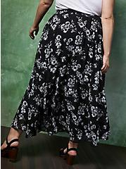 Black Floral Chiffon Maxi Skirt, FLORAL - BLACK, alternate