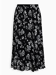 Black Floral Chiffon Maxi Skirt, FLORAL - BLACK, hi-res