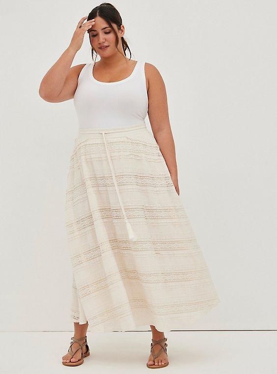 Ivory Lace Maxi Skirt, NATURAL, hi-res