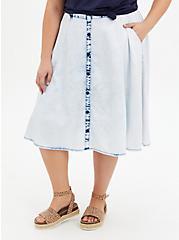 Acid Denim Button Front Midi Skirt, BLEACH OUT ACID, hi-res