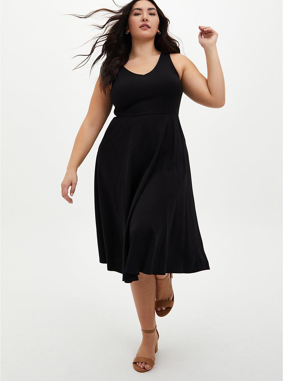 Black Ponte Skater Midi Dress, DEEP BLACK, hi-res