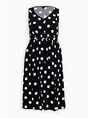 Black & White Dot Challis Retro Skater Midi Dress, BLACK AND WHITE DOT, hi-res