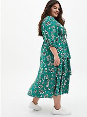Green Floral Challis Tiered Skater Tea Length Dress, FLORAL - GREEN, alternate