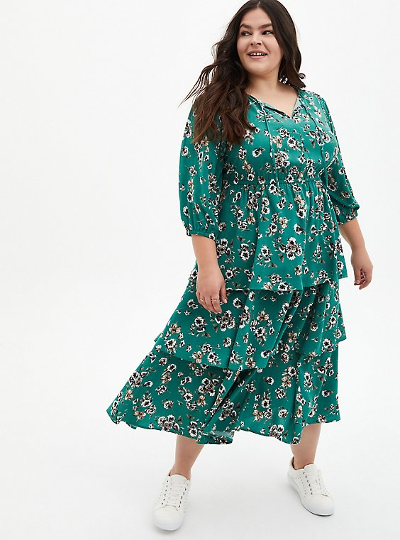 Green Floral Challis Tiered Skater Tea Length Dress, FLORAL - GREEN, hi-res
