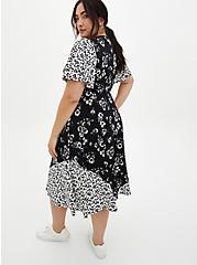 Black & White Floral Studio Knit Skater Midi Dress, FLORAL - BLACK, alternate
