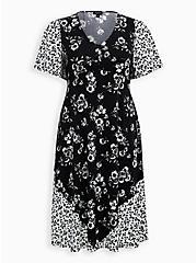 Black & White Floral Studio Knit Skater Midi Dress, FLORAL - BLACK, hi-res