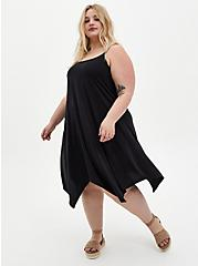 Black Cupro Handkerchief Tank Dress, DEEP BLACK, hi-res