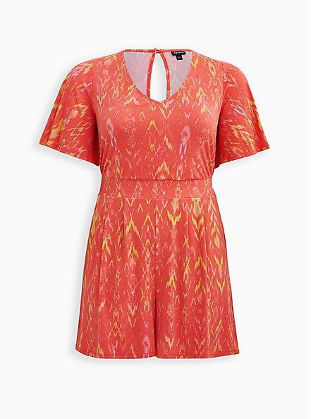 Plus Size Coral Ikat Studio Knit Romper, IKAT - PINK, hi-res