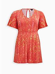 Coral Ikat Studio Knit Romper, IKAT - PINK, hi-res