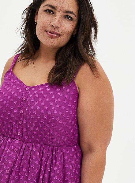 Grape Purple Clip Dot Chiffon Skater Midi Dress, WILLOWHERB, alternate