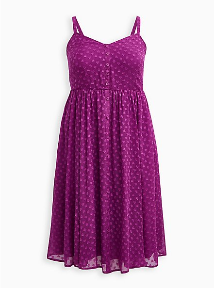 Grape Purple Clip Dot Chiffon Skater Midi Dress, WILLOWHERB, hi-res