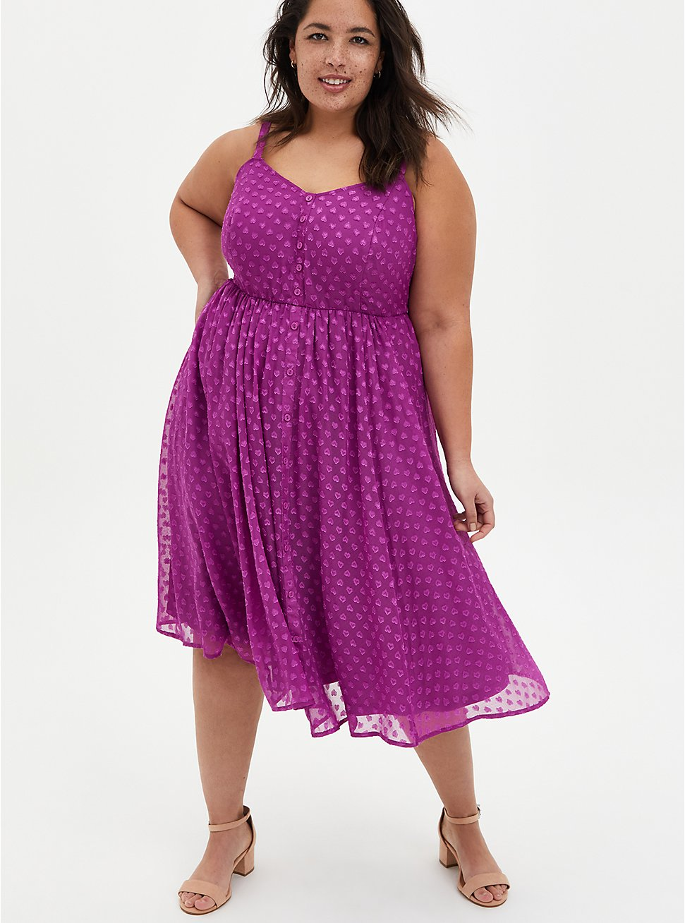 Grape Purple Clip Dot Chiffon Skater Midi Dress, WILLOWHERB, hi-res