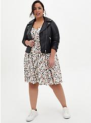 Plus Size Ivory Floral Studio Knit Strappy Skater Dress, FLORAL - IVORY, alternate