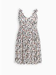 Plus Size Ivory Floral Studio Knit Strappy Skater Dress, FLORAL - IVORY, hi-res