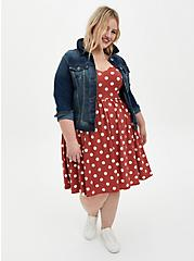 Marsala Dot Studio Knit Strappy Skater Dress, DOTS - RED, alternate