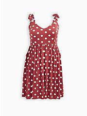 Marsala Dot Studio Knit Strappy Skater Dress, DOTS - RED, hi-res